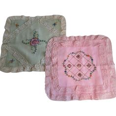 These 1930s Boudoir Vintage Pillowcases with Pink and Green Embroidery Lace are pastel perfection. They can be found at Vanity Flair Vintage on Ruby Lane.
