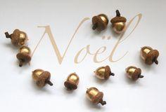 Glands dorés Décoration table de Noël Noël rustic par LesNanaseries