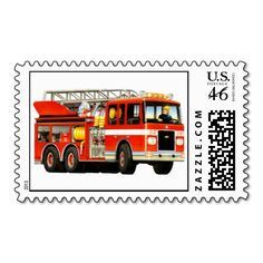 Firetruck Postage Stamps  great for firetruck party invitations for a truck themed party! #truckparty #firengine #firetruckparty #truckstore #firetrucks #firetruck #firemen