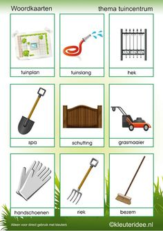 Woordkaarten thema tuincentrum 2, kleuteridee , free printable.