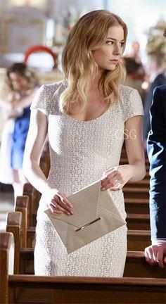 #Revenge Style & Fashion: Emily Van Camp, as Emily Thorne, wore a summery #MISSONI White Patterned Knit Dress with Black Lining on Revenge Season 2, Episode 9 'Revelations'