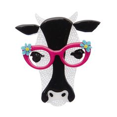 "Erstwilder Limited Edition Hippy Hilda Heifer Brooch. ""This beautiful bovine loves literature so much she asked us if she could write this story herself. We're thinking about it."""