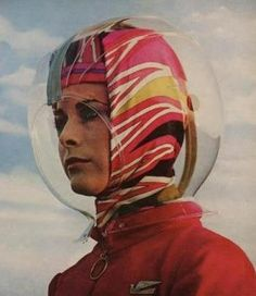 Space Age helmet  and silk scarf designed by Emilio Pucci for Braniff Airlines,1965