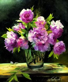 Master class on painting Lilia Stepanova. How to draw Peonies. Flower Vases, Flower Art, Flower Arrangements, Oil Painting Flowers, Watercolor Flowers, Art Floral, Still Life Art, Botanical Prints, Painting Inspiration
