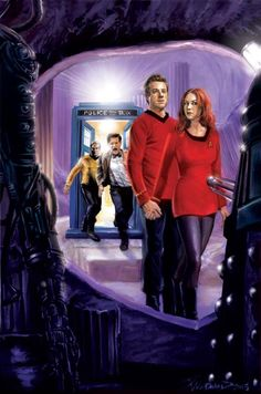Doctor Who and Star Trek. Amy and Rory are in red. Well... Now I'm crying!