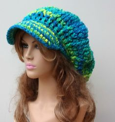 Bohemian Mermaid Slouchy Newsboy Visor Dread Tam Hippie brimmed slouch billed beanie Hat turquoise yellow green