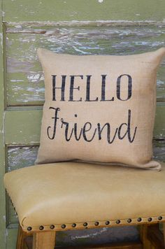 Burlap Pillow-Hello Friend by WhimsyoftheSouth on Etsy & Mr Mrs Pillow Est Date Burlap Pillow Monogrammed by AmoreBeaute ... pillowsntoast.com