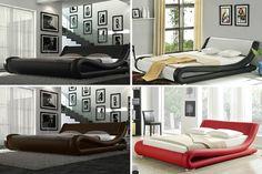 Designer 'Amari' Italian Leather Double or King Size Bed Frame