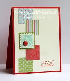 handmade card ... column of punched inches ... one popped up, layered with a big brad ... great use of extra bits of patterned paper ... Stampin' Up!