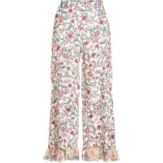 See by Chloé Printed Pants ($290) ❤ liked on Polyvore featuring pants, bottoms, skirts, florals, high-waist trousers, white wide pants, floral-print pants, high waisted floral pants and ruffled pants