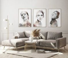 Beautiful art prints illustrated by Norwegian artist and designer Linda Skaret, available in several sizes. Living Room Interior, Scandinavian Style, Painting & Drawing, Gallery Wall, Beautiful Ladies, Art Prints, Illustration, Couch, Modern