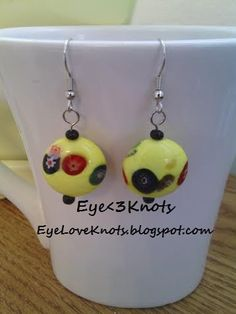 Flat, Round Yellow and Floral Dangle Earrings. Perfect for Sensitive Ears - Hypoallergenic! Sterling Silver Options Available!!
