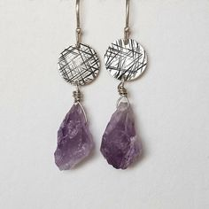 Raw amethyst and hammered sterling silver earrings. Purple Earrings, Amethyst Earrings, Crystal Earrings, Sterling Silver Earrings, Dangle Earrings, Amethyst Quartz, Amethyst Gemstone, Purple Aesthetic, Handcrafted Jewelry