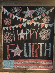 Fourth of July chalkboard art. Use Wallies peel-and-stick chalkboard sheets to make an easy framed chalkboard. Just cover a piece of cardboard, sized to frame, with Wallies chalkboard and then pop it into a frame! Chalkboard Doodles, Chalkboard Art Quotes, Blackboard Art, Chalkboard Writing, Chalkboard Decor, Chalkboard Drawings, Chalkboard Lettering, Chalkboard Designs, Framed Chalkboard