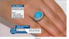 Cirari Couture Jewels 3.70 ct Sleeping Beauty Turquoise Oval 1.38 ctw Multiple Gems 14K White Gold Ring Blue Sapphire And Diamond Size 7  If you love being surrounded by exquisite jewelry then this is your dream destination. Gem Shopping Network is the most exquisite viewing experience on TV. Now available on live streaming and on apps.