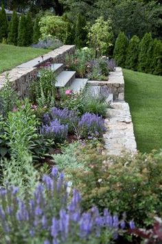 Transitional garden with lawns - garden Diy - Bristol Road Residence. Transitional garden with lawns - Terraced Backyard, Terraced Landscaping, Landscaping Ideas, Outdoor Landscaping, Landscaping Borders, Steep Hillside Landscaping, Backyard Ideas, Terraced House, Modern Landscaping