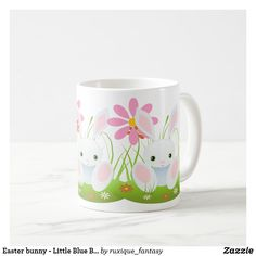Shop Easter bunny - Little Blue Bunny With Flowers Coffee Mug created by ruxique_fantasy. Easter Bunny, Easter Eggs, Easter Flowers, Blue Bunny, Baby Products, Pretty Flowers, Spring Time, Special Occasion, Create Your Own