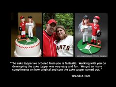 Baseball wedding cake topper custom made by www.magicmud.com   $235   1 800 231 9814 #baseball #wedding #cake #toppers  #custom #personalized #Groom #bride #anniversary #birthday#weddingcaketoppers#cake toppers#figurine#gift#wedding cake toppers