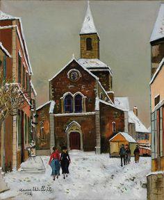Église sous la neige, Maurice Utrillo. (1883 - 1955)