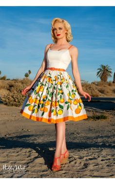 e81bd3f819df1 Pinup Couture Jenny Dress in Orange Border Print | Retro Style Swing Dress