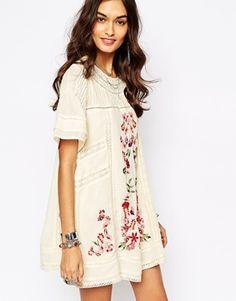 Free People - Vestito stile vittoriano con ricami floreali