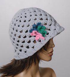 GRAY Spring Bucket hat with flowers. Crochet by scarfstore2012