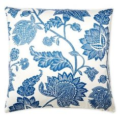 Check out this item at One Kings Lane! Palampore 20x20 Cotton Pillow, Blue