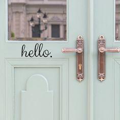 Hello Door Decal - Door Decals - Door Stickers - Door Decal - Door Signage - Hello Stickers - front door decal - Entryway Decor - Wall Decor by luxeloft on Etsy