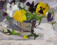 """Daily Paintworks - """"Pansy"""" - Original Fine Art for Sale - © Katia Kyte"""