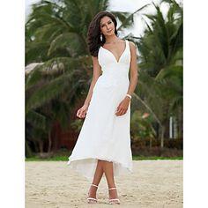 A-line V-neck Asymmetrical Tea-length Chiffon Wedding Dress  – USD $ 97.99