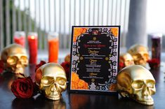 Special Occasions Event Planning | Dia De Los Muertos Decor | Gold Skull Candle
