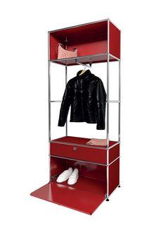 USM modular furniture wardrobe rubis red meuble USM Haller dressing rouge rubis