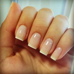 Nude nails with a faded white tip