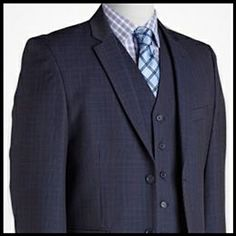 Suit up like you mean it.  #threepiecesuit #suitandtie #shirt #tie #vest #jacket #sportcoat #menswear #mens #fashion #dapper #plaid #check #navy #blue #StacyAdams