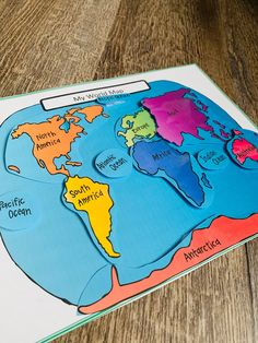 My World Map, Learning Continents, Preschool and Kindergarten learning tool, Great teacher resource for early learning, Educational Binder Preschool Writing, Kindergarten Learning, Early Learning, Preschool Crafts, Kids Learning, Preschool Binder, Geography For Kids, Maps For Kids, Teaching Geography