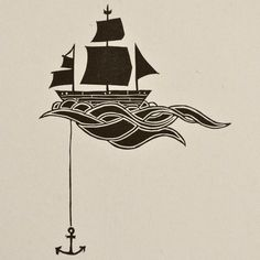 Anchored Ship Linocut Block Print. $8.99, via Etsy.