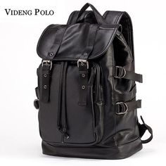 b019a96b0c VIDENG POLO Mens Large Capacity Leather Casual Backpack