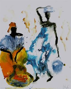 Encore un seau d'eau Another bucket of water The first time I discovered the work of Catalan painter Miquel Barceló, I was enthusias. Black Art Painting, Figure Painting, Watercolor Sketch, Watercolor Paintings, Watercolors, Miquel Barcelo, Afrique Art, Caribbean Art, Spanish Artists