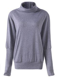 699601d0d1a0b Clothing · Camisa solta do botão das mulheres soltas da luva do bastão do  turtleneck ocasional Bat Sleeve