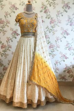 Indian wedding wear - Ivory and Mustard Yellow Lucknowi Lehenga Choli Indian Wedding Lehenga, Indian Wedding Wear, Indian Bridal Outfits, Indian Bridal Fashion, Indian Lehenga, Indian Designer Outfits, Indian Wear, Wedding Chaniya Choli, Mehendi Outfits