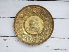 "Large 15"" Vtg brass Wall Decor Embossed Plate with DRAGON VESSEL motif vintage wall decor dish decorative plate boat ship wall decor I06/895"