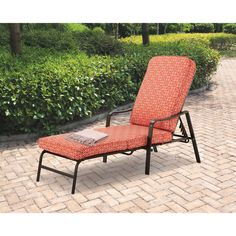 Patio Chaise Lounge Adjustable Back Deck Red Relax Outdoor Chair 5-Position NEW! #Mainstays