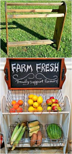 Blanket rack turned vegetable stand: a flea market find scored a storage solution! I found a blanket rack and intended to repurpose it into a farmhouse style vegetable stand... for our kitchen!