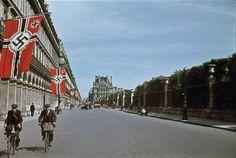 Rue de Rivoli in occupied Paris. Rue de Rivoli – one of the longest in Paris, a natural extension of the Champs-Elysees to the east of Place de la Concorde.