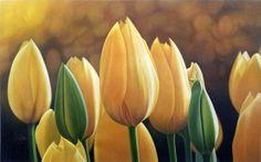 Tulipanes Amarillos-Oleo sobre lienzo, 1,60 x 0,80 mts