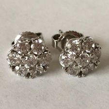 Sterling silver 925 round white CZ flower shape stud earrings push ba... Lot 353