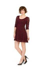 PD-9508 - Paisley Lace Stretch Fit and Flare Dress - Colors: Black, Blue, Burgundy - Available Sizes:XS-XXL - Catalog Page:46