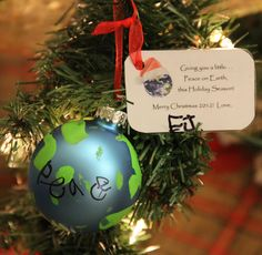 "Homemade ""Peace on Earth"" Ornament for Children;  A Christmas Tribute to the Students & Teachers Lost in Newtown, CT"
