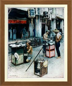 Singapore Chinese Hawkers - Vintage Print. Vintage 1924 Singapore. Singapore itinerant hawkers in this old street scene. Reproduced on Archival Heavyweight Paper http://www.zazzle.com/singapore_chinese_hawkers_vintage_print-228518548916135152 #Singapore #print #history #hawkers #food #Asia