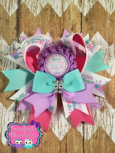 Never Leave Home Without Your Crown Princess Hair Bow Purple Pink and Aqua Hair Bow Mini Cheer Hair Bow by EmmaleighsBowtique on Etsy